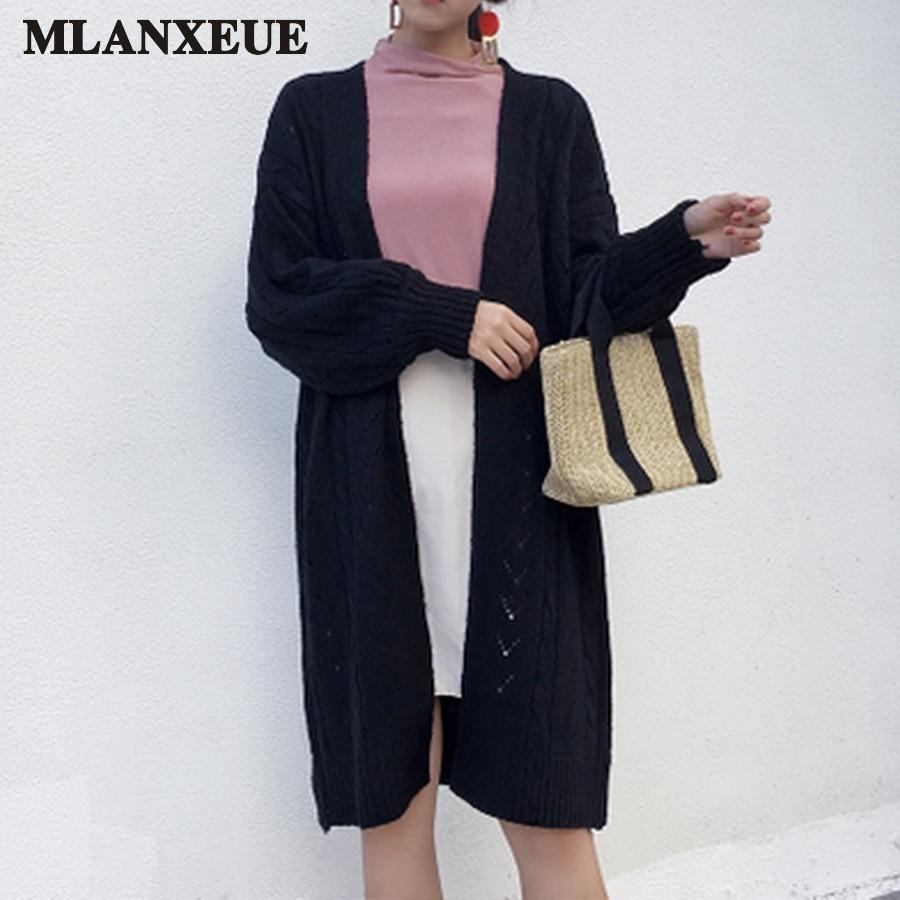 Korean Long Cardigan Women Autumn 2017 Fashion Long Knitted Sweater Woman Oversized Tops Fall Casual Hollow Coat Winter Clothing