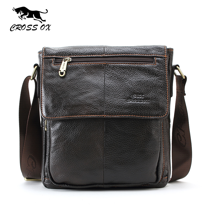 CROSS OX Genuine Leather Handbags For Men Fashion Shoulder bag For Business & Casual Briefcase Bags Men's Messenger Bag SL232M genuine leather men bag fashion messenger bags shoulder business men s briefcase casual crossbody handbags man waist bag li 1423