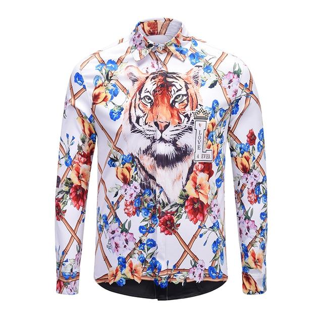 8e47ab8819cb True Reveler brand clothes blind for love shirts men long sleeve Bengal tiger  shirts hip hop