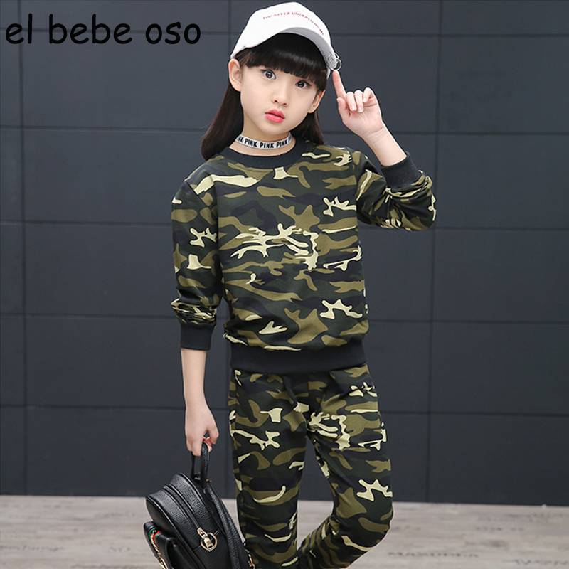 Spring Autumn Children's Sets Long Sleeves Pullover Sweatshirts Pants Baby Girl Camouflage Casual Kids Children's Clothing XL114