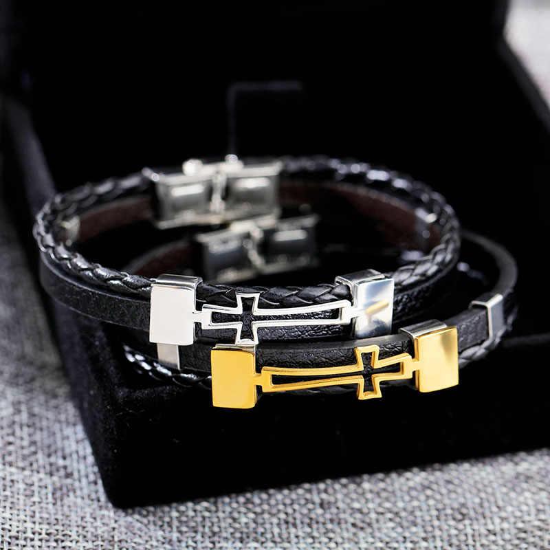 Moda skórzane bransoletki i bransolety krzyż kształt pleciona lina bransoletki ze stali nierdzewnej dla mężczyzn biżuteria prezent (BA102284)