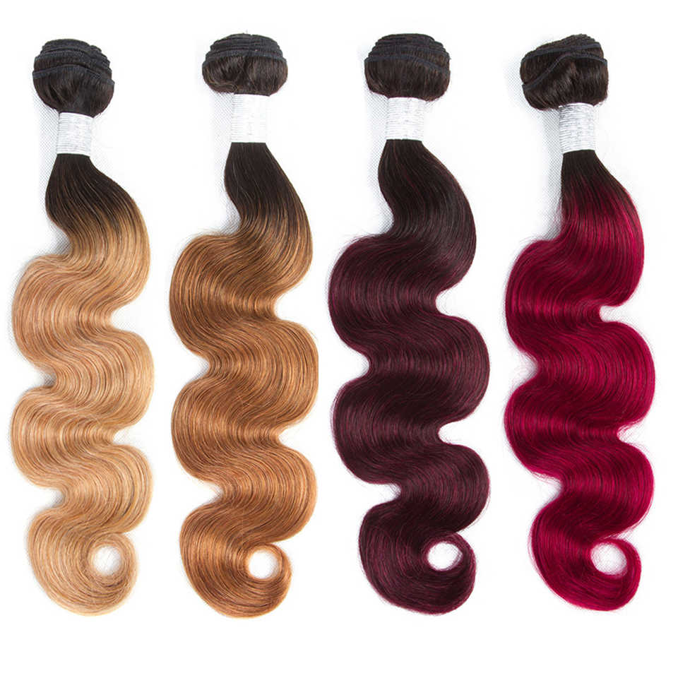 Smoora Brazilian Hair Weave Bundles Body Wave Ombre Hair Bundles 4Pcs Natural Black Dark Roots Blonde Brown Burgundy Red NonRemy