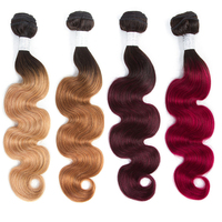Smoora Brazilian Hair Weave Bundles Body Wave Ombre Hair Bundles 4Pcs Natural Black Dark Roots Blonde Brown Burgundy Red NonRemy