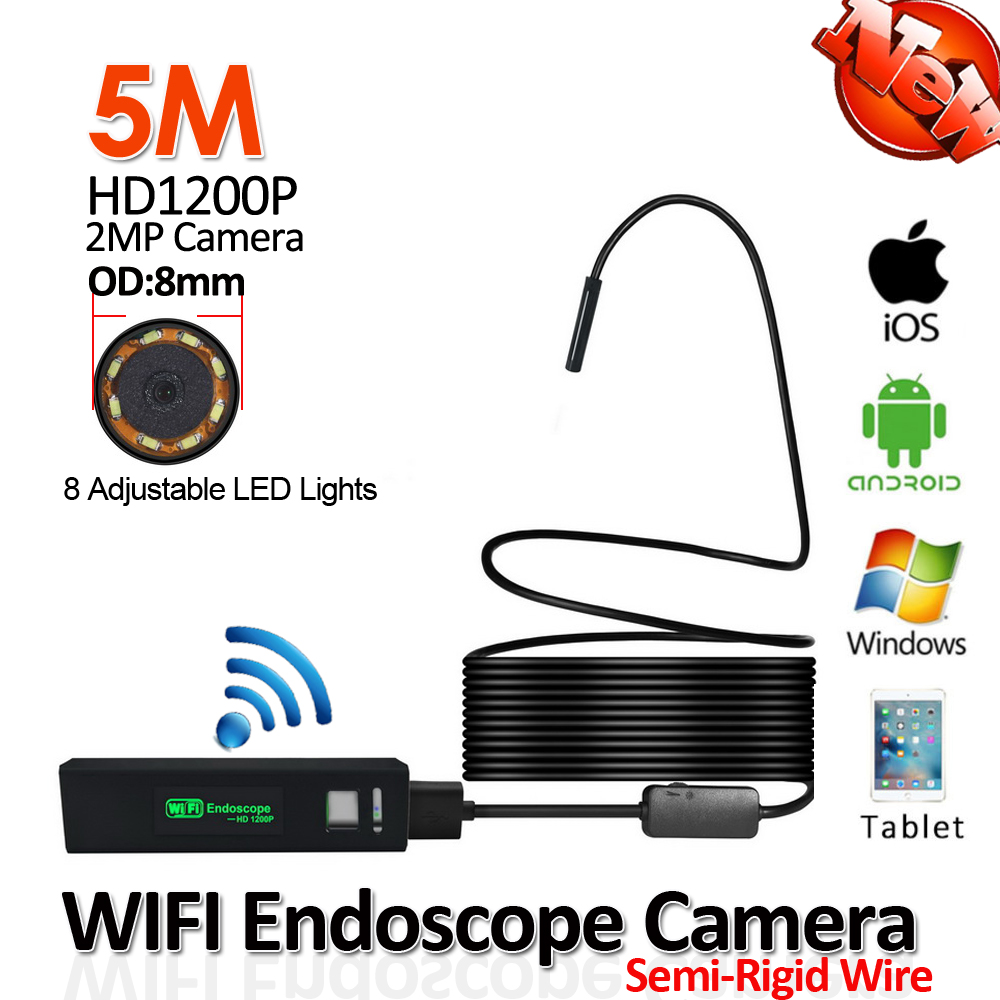 8mm 5M Flexible Rigid Snake USB 1200P 2MP WIFI Endoscope Camera Android iPhone WIFI Wireless Tube Inspection Borescope Camera hd 1200p wireless wifi endoscope mini waterproof semi rigid inspection camera 8mm lens 8led borescope for ios and android pc