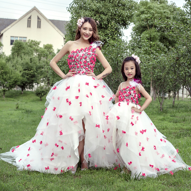 6d8790ec6fcaf US $66.48 5% OFF|Children Girls Princess Dress Flower Mommy and Me Baby  Sets Mother Daughter Wedding Dresses Clothes for Wedding Evening Gown-in ...