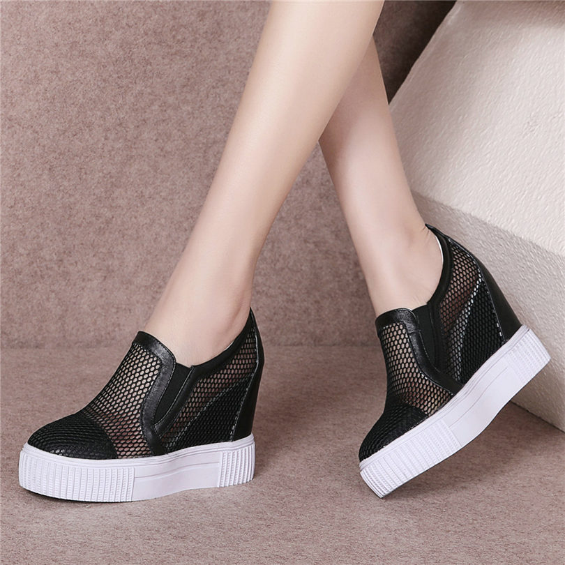 NAYIDUYUN      Women Shoes Genine Leather Wedges Platform Gladiator Sandals Breathable Lace Summer Sneakers High Heel Punk PumpsNAYIDUYUN      Women Shoes Genine Leather Wedges Platform Gladiator Sandals Breathable Lace Summer Sneakers High Heel Punk Pumps