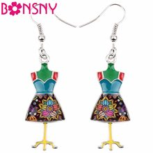 Bonsny Novelty Big Long Enamel Alloy Clothes Stand Hanger Dangle Drop Earrings 2018 News Tools Novelty Jewelry For Girls Women(China)