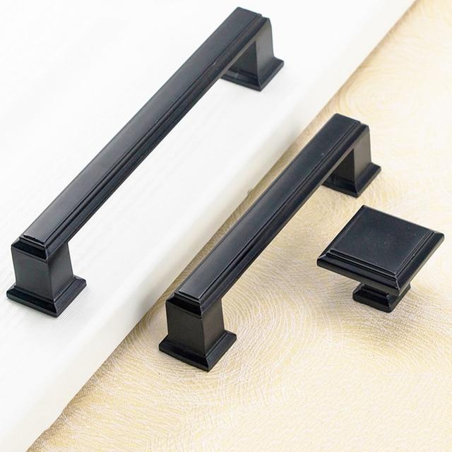 MEGAIRON Modern Pastoral Furniture Door Handles Kitchen Cabinet Knobs Black  Wardrobe Pulls Drawer Knobs Simple Dresser