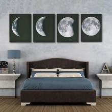 Modern Art Print on Canvas Home Wall Decor Poster Abstract The Moon 4PCS Framed 8 24(China)