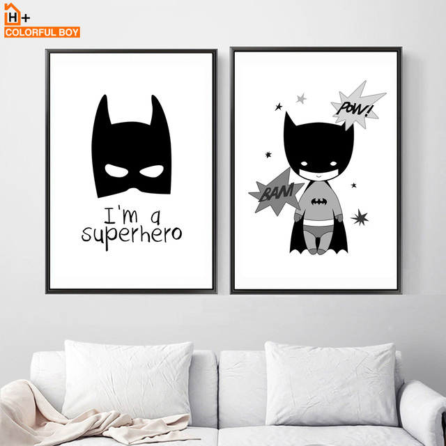 Batman Canvas Painting Wall Art Print Black White Posters Prints Pictures Nordic Style