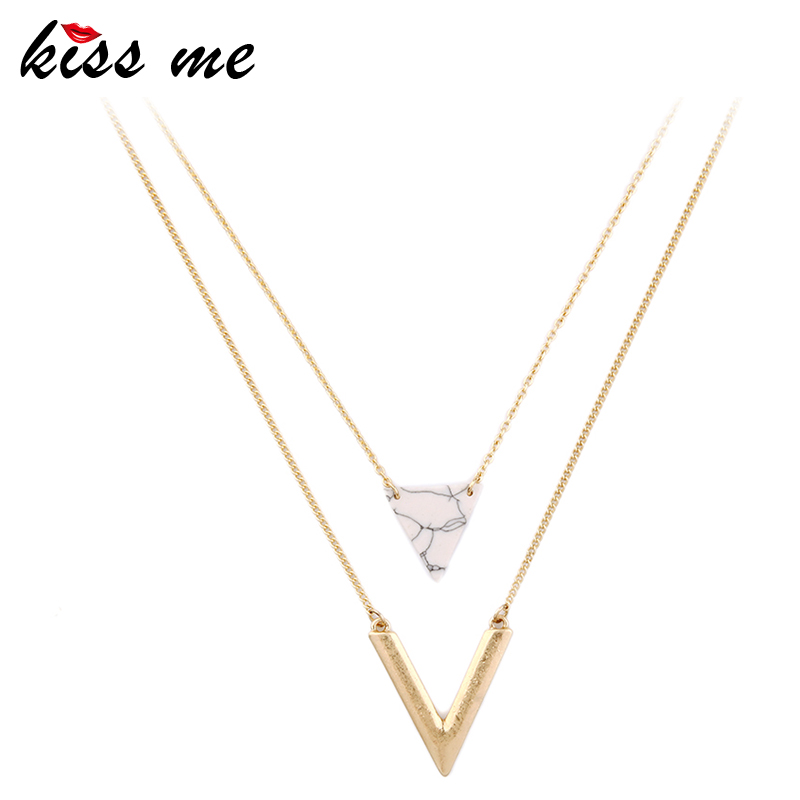 KISS ME Alloy Artificial Marble Triangle Necklace 2016 New Summer Jewelry Alloy Layered Necklace
