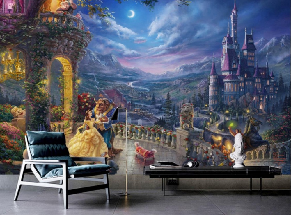 European Retro Living room Bedroom 3d Background Cartoon Castle The Dining industry Decorates The Backdrop european retro red