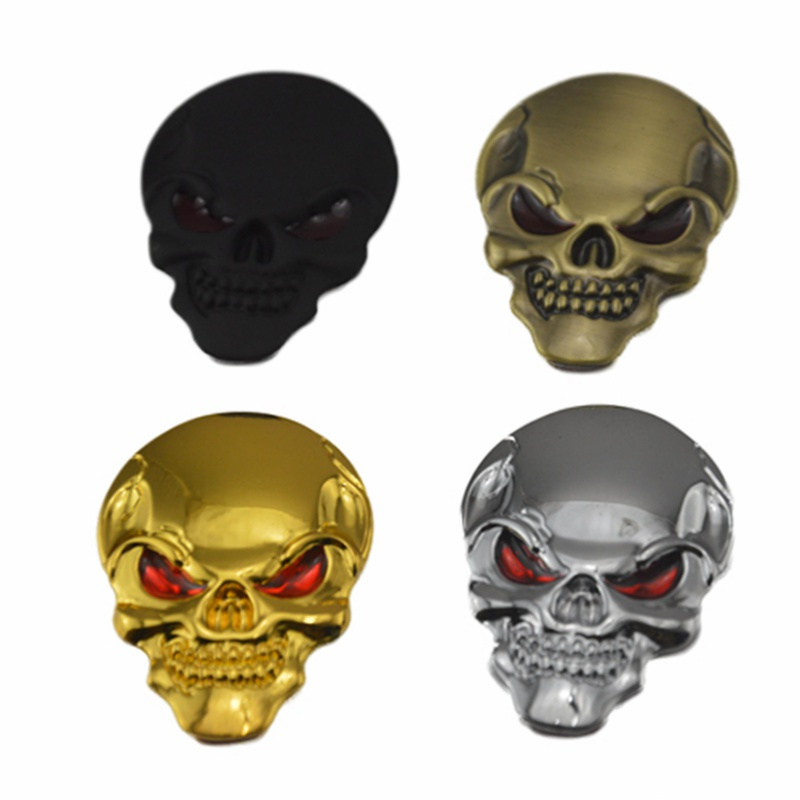 1 Pcs 5cm x 3.5cm 3D Metal Skull Car stickers Logo Emblem Badge Name Car Truck Auto Motor Sticker Decal Car Styling auto chrome camaro letters for 1968 1969 camaro emblem badge sticker