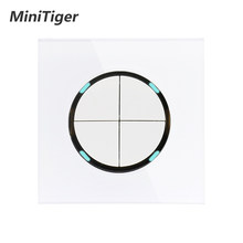 Minitiger 2019 New Arrival Crystal Glass Panel 4 Gang 1 Way Random Click On / Off Wall Light Switch With LED Indicator(China)
