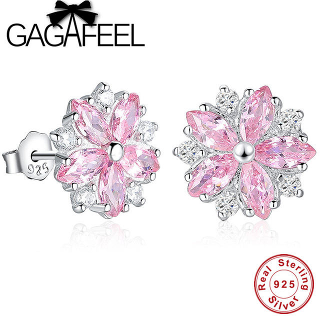 Gagafeel Pink Crystal Daisy Cherry Blossom Stud Earrings Real Pure 925 Sterling Silver Fl Flower