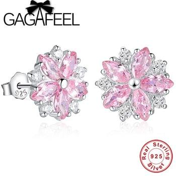 0a03d999699d Gagafeel cristal rosa margarita Cerezo Pendientes de broche real pura plata  esterlina 925 flor floral Pendientes para las mujeres joyería
