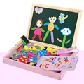 Children 's wooden puzzle magnetic double - sided drawing board fight music education toys
