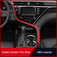 QHCP ABS Car Dashboard Strip Left Air Vent Outlet Trim Decorative Sticker Wood Grain Carbon Fiber Style For Toyota Camry 2018