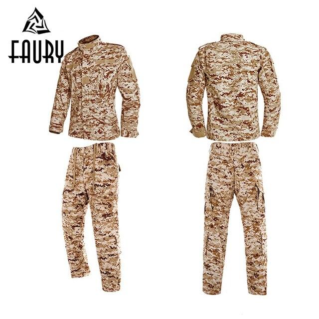 Hommes désert & Jungle Camouflage costume Shell Camouflage chasse uniformes vêtements à manches longues en plein air tactique militaire vestes pantalon