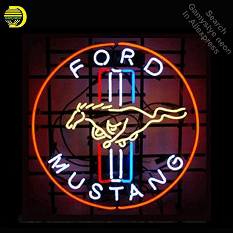 Pour Mustang Enseigne au néon En Verre Tube néon lumières Marque LOGO Loisirs Garage Windows Professiona Emblématique Signe La Publicité Motel Signe