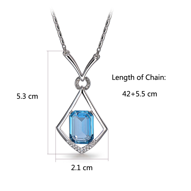 New Viennois Platinum Plated Blue Crystals from Swarovski Pendant Necklaces for Woman Geometric Pendants Fashion Jewelry