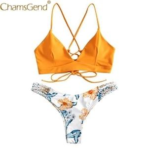 4 Color Women Sexy Beach Swimsuit Floral print Wire Free Push Up Bra Brief Set Woman Qucik Dry Underwear Swimwear 90523(China)