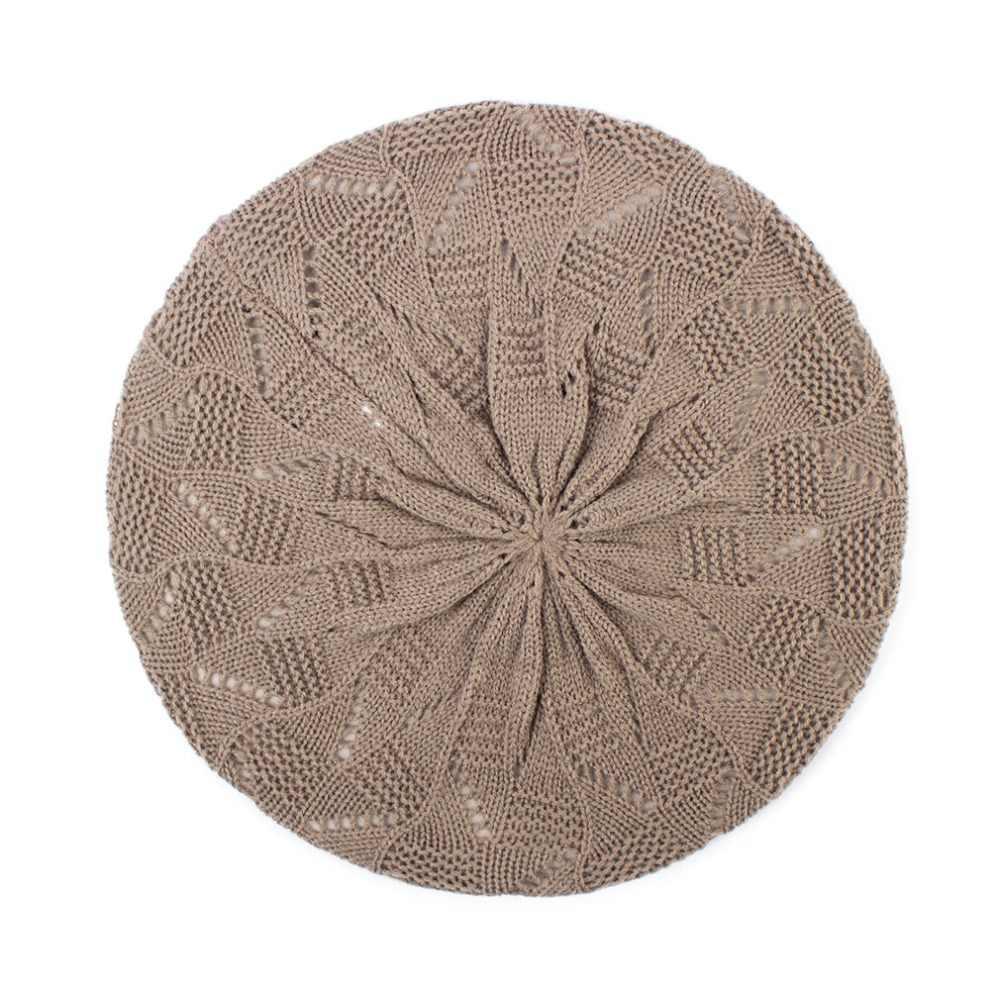 Geebro для женщин плотная цвет вязаная шляпа берет дамы французский художник Берет шапки весна повседневное тонкий акрил береты для