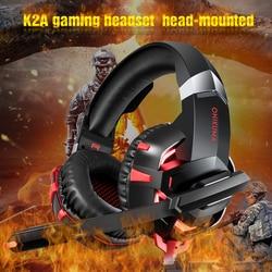 Onikuma K2A Игровые наушники проводные стерео PS4 Gaming Headset шлем Gamer гарнитура с микрофоном для ПК Xbox One/ноутбука светодиодный свет
