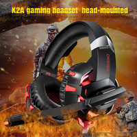Onikuma K2A Gaming Headset PS4 Wired Stereo Game Headphones Casque Gamer Headset with Mic for Computer Laptop Phone LED Lights