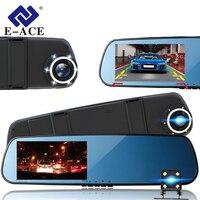 E-ACE Full HD 1080P Car Dvr Camera Mirror With Dual Lens Video Recorder Dvrs Rearview Cameras 10 Led Light Night Vision Dash Cam