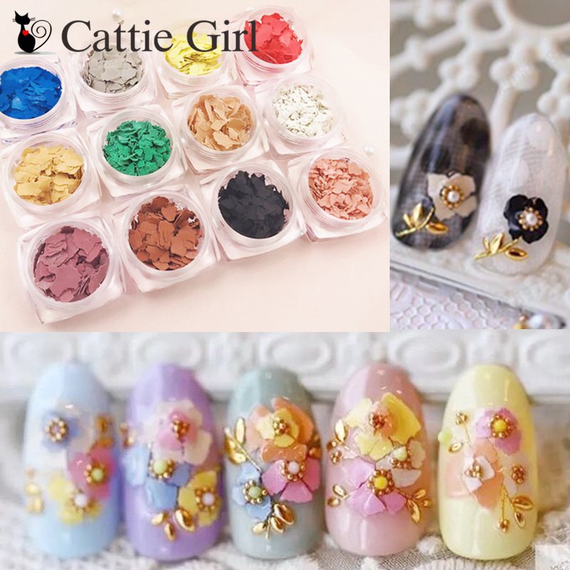 1Box Colorful Flowers Mineral Flake 3D Nail Art