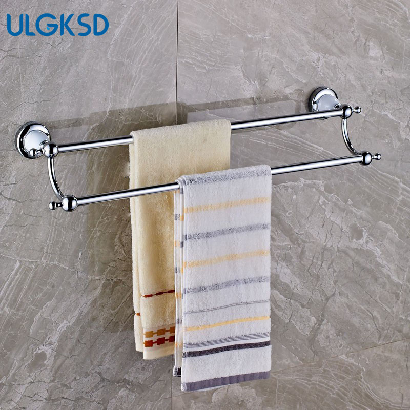 Ulgksd Double Bath Towel Rack Solid Brass Chrome Bathroom Accessories Wall Mounted Towel Holders for Kitchen Towel Hanger bathroom shelves wall mounted towel rack bars bath towel carved holder 2 tier brass bathroom accessories towel tack ssl s22
