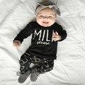 ST227 2016 autumn new girl clothes set cotton unisex long-sleeved letter Milk T + pants 2 pcs. newborn boy Set of clothes