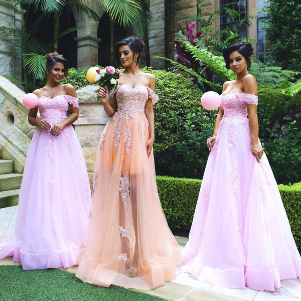 39c384c02bbc Off The Shoulder Blush Pink New Tulle Lace Applique See Through A Line Bridesmaid  Dresses Maid Of Honor For Wedding Party
