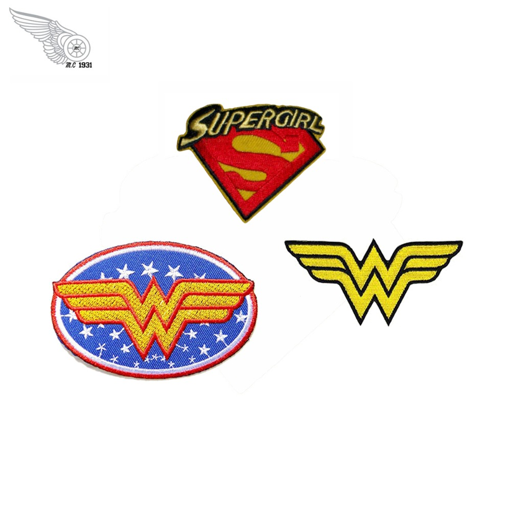 Wonder women supergirl movies patch embroidery iron on front mini clothing stickers for jacket shirt free shipping