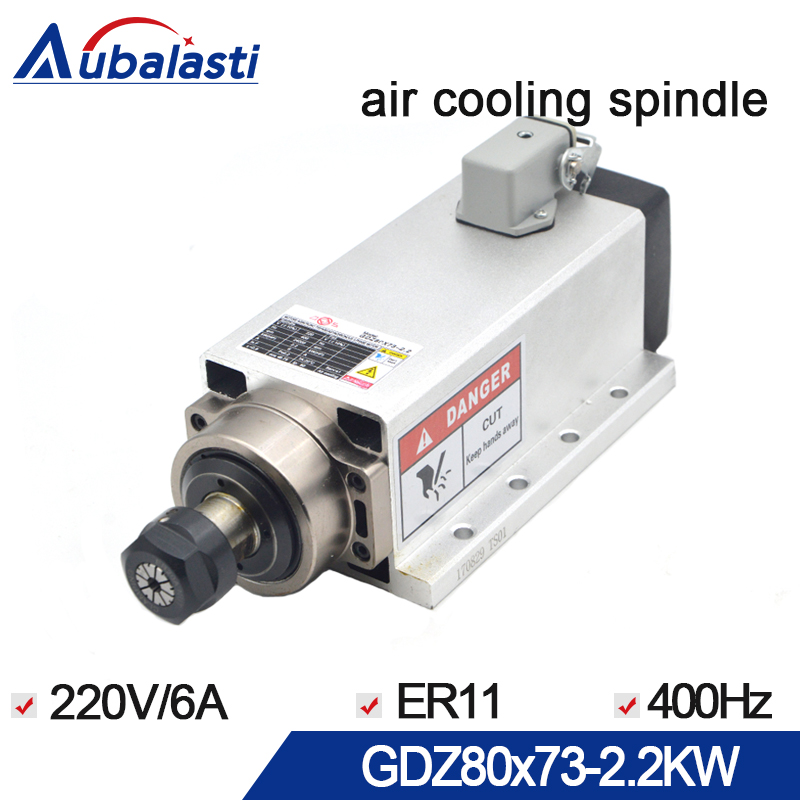 cnc spindle 2.2kw air cooled spindle motor 220V 6A 400HZ ER20 runout-off 0.01mm with 4 ceramic bearing For CNC router machines 2 2kw air cooled square spindle motor 220v 24000rpm er20 runout off 0 01mm ceramic bearing air cooling spindle for cnc milling