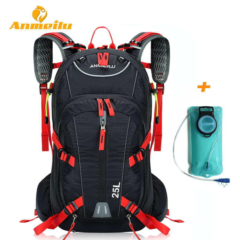 ANMEILU 25L Waterproof Camping Hiking Climbing Cycling Backpack 2L Water Bag Outdoor Sports Travel Bag Rucksack&Helmet Net Cover