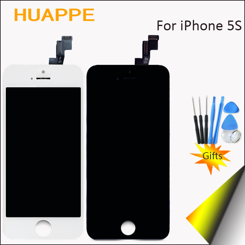 1PCS Top AAA Quality LCD For Apple iPhone 5S Display Screen Touch With Digitizer Frame No Dead Pixel 4.0 inch White Black Gift
