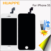 1PCS White Black LCD For IPhone 5S Display Screen With Digitizer Frame Top AAA Quality LCD
