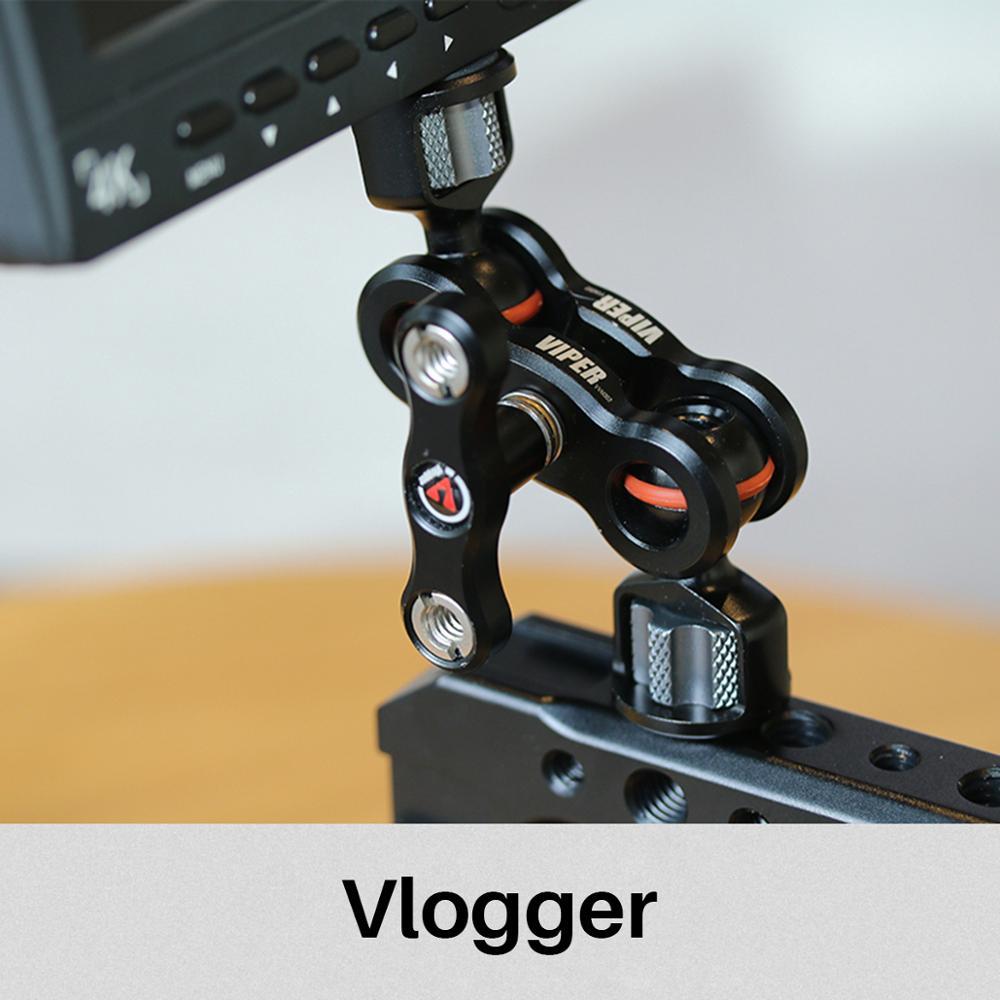 VLOGGER VIPER Артикуляционная магическая рукоятка 360 градусов 6 кг Полезная нагрузка алюминий 1/4 винт полевые мониторы крепление для sony A7 A6400 зеркалок