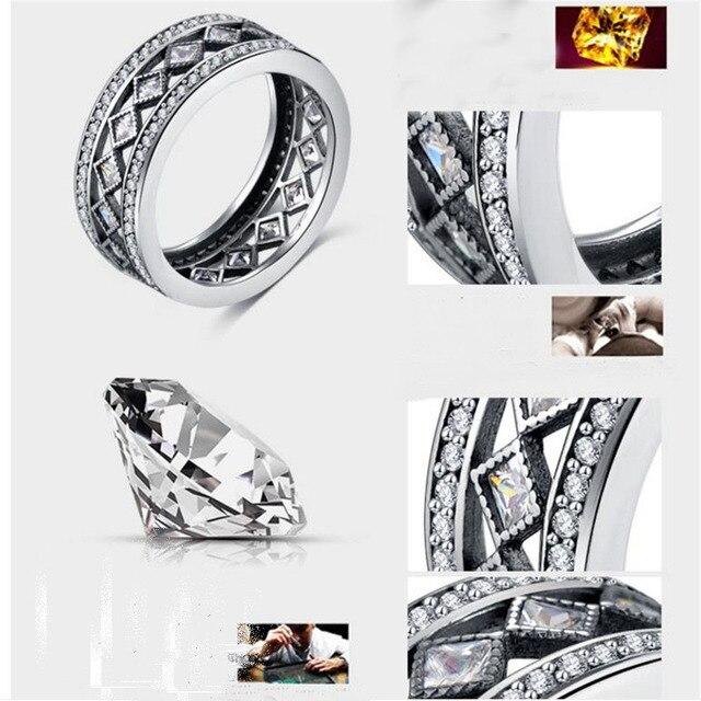 2018 AEM Vente Chaude 925 Sterling Argent Carré Vintage de Fascination Grand Anneau Pour Les Femmes De Luxe De Mode S925 Beaux Bijoux 2