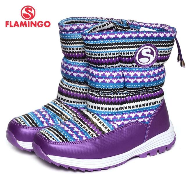 Flamingo 2016 новая коллекция зимней моды снег сапоги с шерстяной высокое качество anti-slip детская обувь для девочки 52-nc412