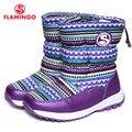 Flamingo 2016 nova coleção moda inverno botas de neve com lã de alta qualidade anti-slip 52-nc412 sapatas dos miúdos para a menina