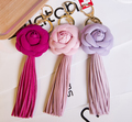 Camellia Tassel Fringes Keychain Bag Pendant Car Ornaments Creative Gifts Bag Flower Charm Key Chain Buckle Key Ring 8 Colors F3