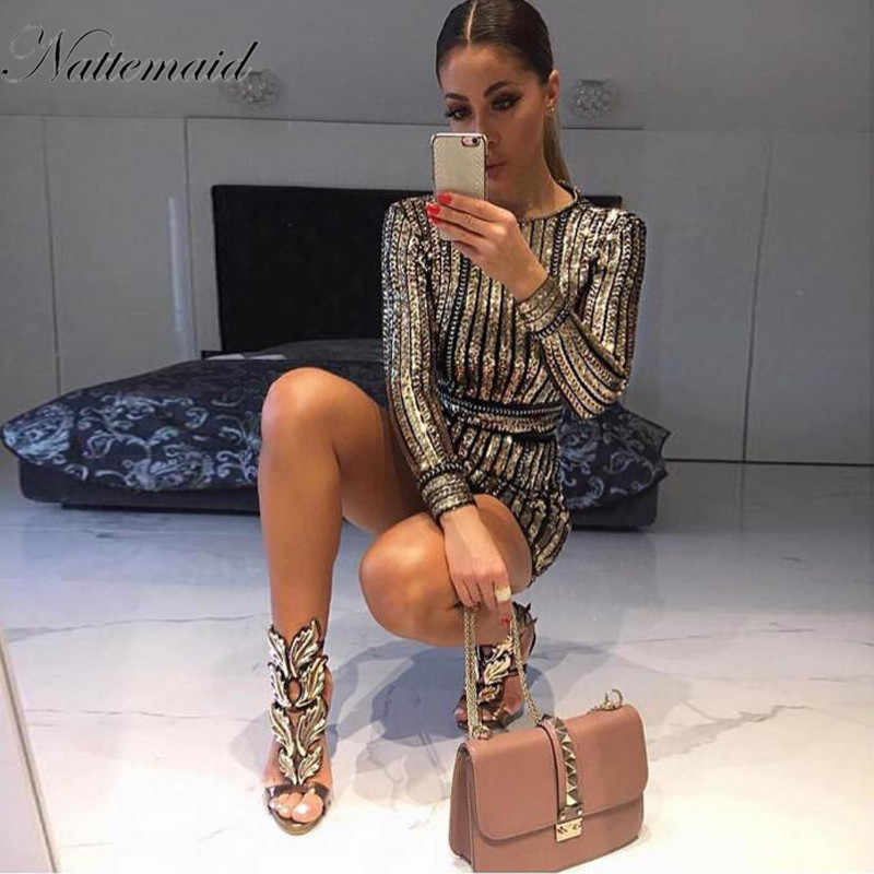 NATTEMAID 2019 Long Sleeve Mini Sequin Dress Women Striped Slim Bodycon Dresses Vestidos De Fiesta Clubwear Party Sexy Dress