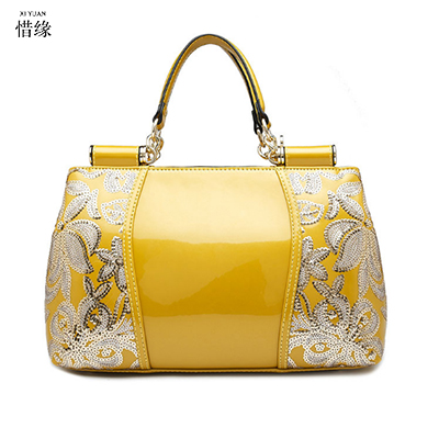 19d040add8b US $79.56 49% OFF| Women yellow/black/blue/white/ red Bag Leather Handbags  High Quality Casual Female Bags Trunk Tote Spanish Brand Shoulder Bag-in ...