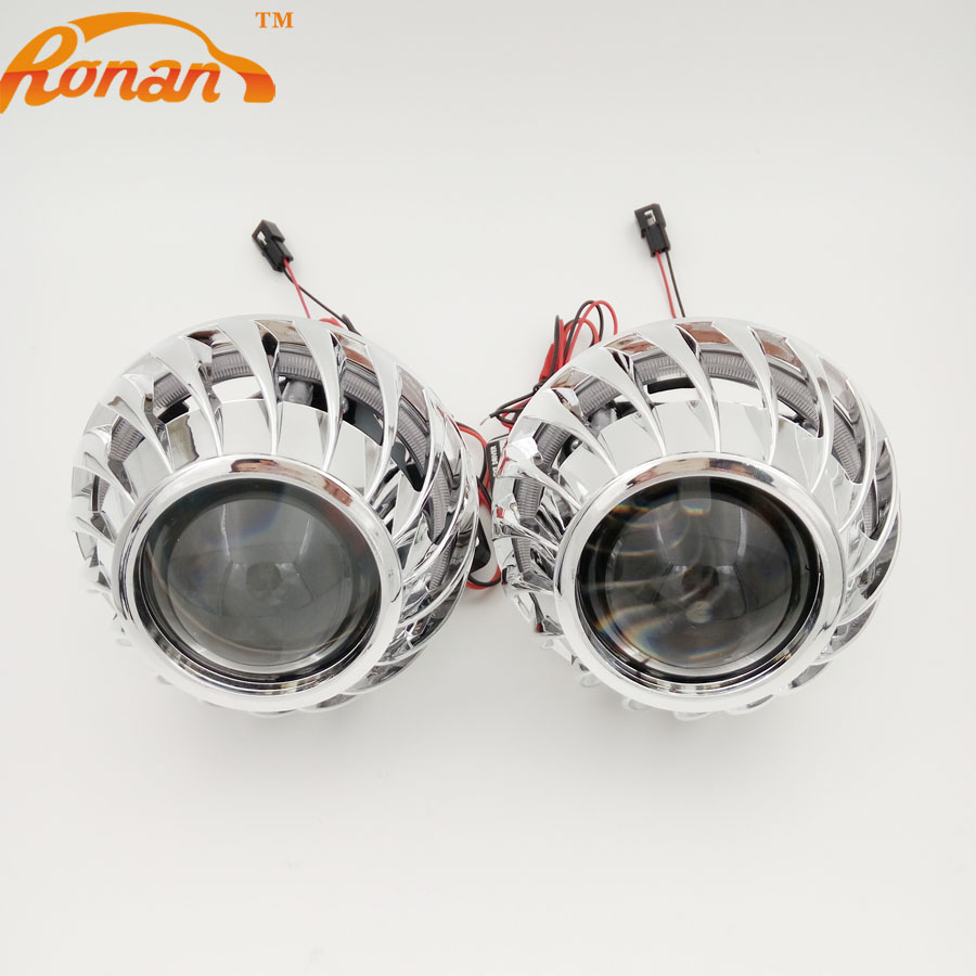 ФОТО 2.5 H1 Bi Xenon Projector lens Headlights with rear LED COB Angel Eyes Spirals Cover H4 H7 Car DRL Running Lamps car style