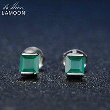 4 мм 0,6x2 ct натуральный зеленый халцедон 925 пробы серебряные Простые серьги-гвоздики ювелирные изделия S925 для женщин LMEI028