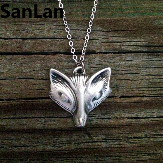 20pcs Lovely Woodland Jewellery Very beautiful animal necklace antique silver plated Fox Necklace women gift SanLan