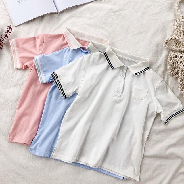 Лето Элегантный дизайн Для женщин рубашки поло сплошной воротник-поло с карманами Button пуловер Женский Повседневное Кореи синий розовый футболка